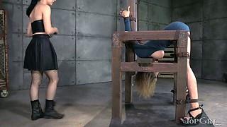 Blonde slave Rain DeGrey suffers when her mistress is near