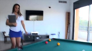 Sucked by hot secretary at the pool table