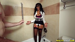 Jenna J Foxx wears hot lingerie while riding a massive cock