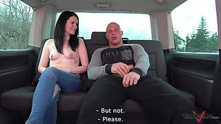Brunette teen Angel picked up on the street and fucked in a car