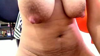 Huge breasted amateur Filipina brunette plays with her cunt a bit
