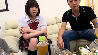 Sweet Japanese schoolgirls get their tight cunts rammed hard
