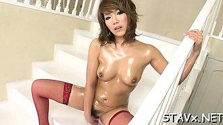 Inviting eastern Akiho Nishimura with large tits fucks well
