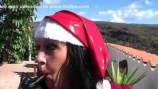 Santa s Busty Latex Helper - Christmas Latex Blowjob Handjob with Latex Gloves - Cum on my Tits