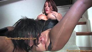 Rachel Steele dominates big dicked sissy on the stairway
