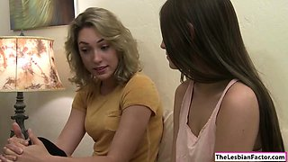 Teen blonde licks her stepsis clit