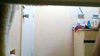 Slim Girl with Monster Bush Caught in Bathroom