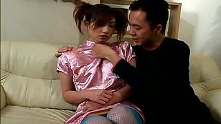 Flat chested Hitomi Ikeno gets her  nipples licked