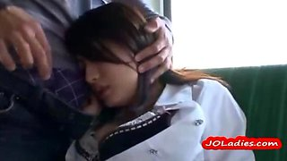 Office Lady Squirting While Fingered Sucking Guy Fucked On The Bus