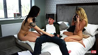 Alessa Savage and Amber Jayne want to ride a fellow's huge cock