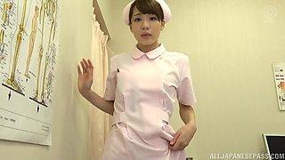 Asian nurse Airi Suzumura gets talked into jerking a big dick
