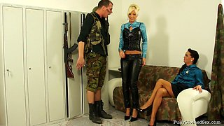 Soldier man gets a steamy offer of two sex starved twats for him to fuck