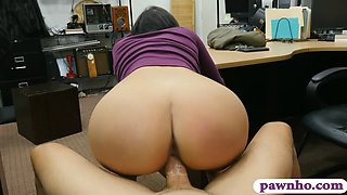 Babe with big breasts reamed by pawn man in his office
