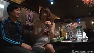Putting his hand into Ayu Sakurai's panties to finger her cooch