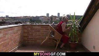 Horny dad bangs his son\'s GF