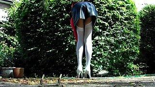 Leather miniskirt black lace thong