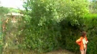 Neighbor's mature drunk wife flashes her curvy body in garden