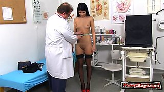 Asian doctor gaping and cumshot