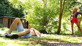 Glam euro has outdoor sex