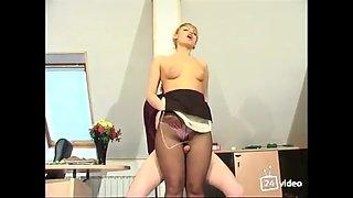 Pantyhose fetish boss