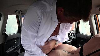 Fake Driving School Mature guy spunks over blonde
