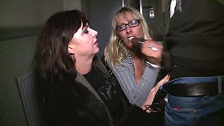 Whorish chick Melina Pure and her kinky GF give blowjob to one black stranger