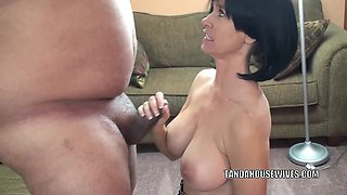 Busty housewife Melissa Swallows is giving a sloppy blowjob
