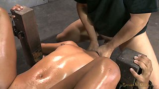 Curly red haired balck chick Daisy Ducati gets her throat punished