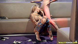 Naughty Bonnie Rotten likes to moan while a young guy bangs her