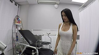 Hot brunette MILF fucked hard by a pussy craving doctor