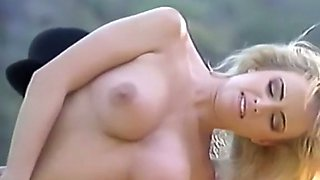 Gorgeous blonde classic tramp outdoors with her lover
