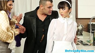 Asian orgy maid assfucked and facialized