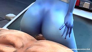 3d blue tight pussy smashed hard by monster big cock