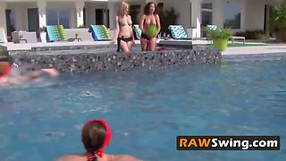 Amateur swingers topless tits pool party