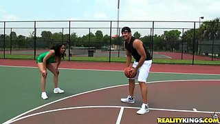 Dribbling Her Big Tits Instead of a Basketball