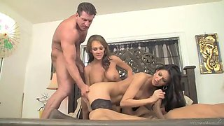 foursome sex with two busty cock thirsty ladies