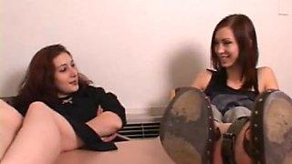 Drunken girls trampling, stomping, jumping