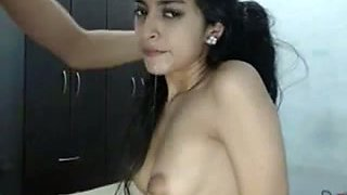 Sexy long curly haired Mexican brunette babe deepthroats her BF