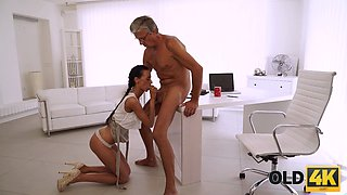 OLD4K. Liliane has a passionate sex with an old man