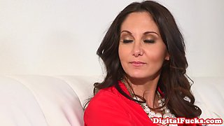 Busty glamour milf doggystyled on couch