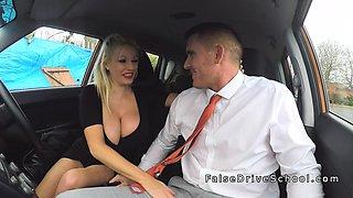 Monster boobs Milf bangs examiner in car