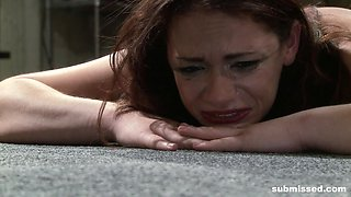 Tied up redhead Ten Amorette cries while getting abused with a hook