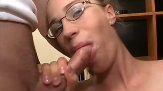 Shy looking blond GF in glasses is to swallow three hard big dicks