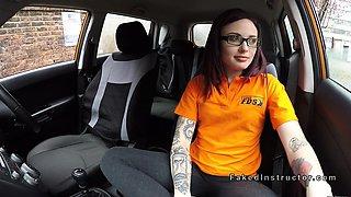 Small tits redhead anal fucks in car