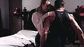 Amazing hottie AJ Applegate gets her tits sucked and pussy fucked missionary