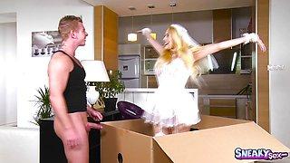 Horny Gloryhole box babe with Angel Wicky