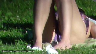 Candid Bikini Wearing Crotch Legs Feet Sunbathing Part 1