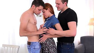 Stud Lets GF Candy Red Blow His Hung Buddy