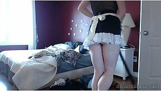 Sexy maid Gemma Minx gets horny and masturbates pussy