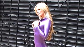 Kinky blonde Carlas outdoor latex fetish and rubber bodysuit